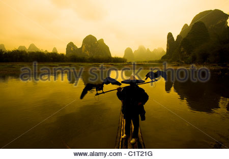 Xingping, Li River, Yangshuo, Guangxi, China - Stock Photo