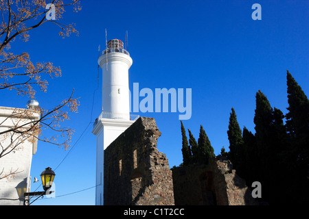 Lighthouse and ruins of the 17thC Convent of San Francisco, Colonia del Sacramento, Uruguay, South America - Stock Photo