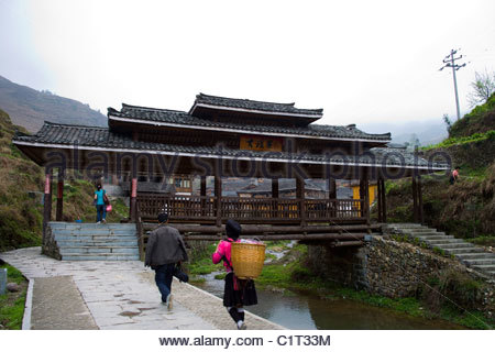Longsheng Covered Bridge, Guilin, Guangxi, China - Stock Photo