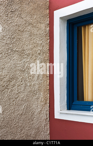 Stucco wall and window, cropped - Stock Photo