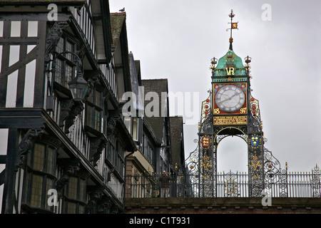 The bridge clock in the centre of Chester. - Stock Photo