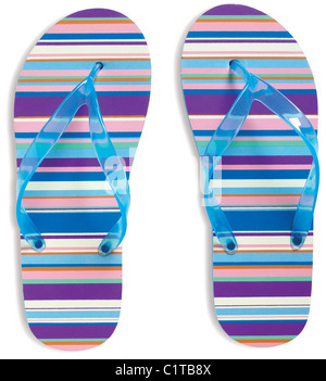 pair of stripy flip flops strings isolated on a white background with clipping path - Stock Photo