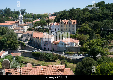 The view from the courtyard in front of the national palace in the center of Sintra - Stock Photo