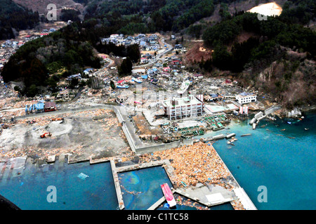 An aerial view of damage to Wakuya, Japan after a 9.0 magnitude earthquake and subsequent tsunami devastated the - Stock Photo
