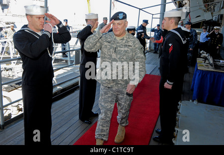 Gen. Carter F. Ham, commander of U.S. Africa Command, is piped aboard the amphibious command ship USS Mount Whitney - Stock Photo