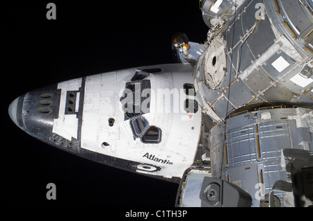 A high-angle view of the crew cabin of space shuttle Atlantis. - Stock Photo