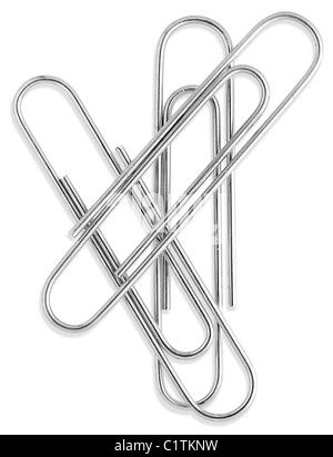 a small group of silver paperclips isolated on a white background from overhead