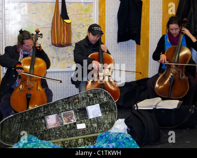 Paris, France, Classical Musicians Performing in Hall of Metro Station inside, Chatelet - Stock Photo