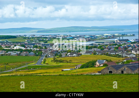 A general view over Kirkwall in Orkney towards the harbour - Stock Photo