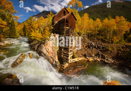 Abandoned mill on a cliff, Crystal Mill, White River National Forest, Crystal, Colorado, USA - Stock Photo
