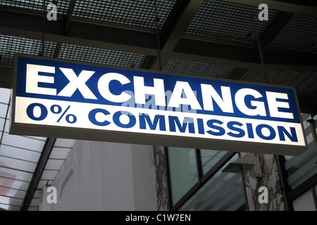 Bureau de Change 0% commission money exchange sign in Prague, Czech Republic - Stock Photo