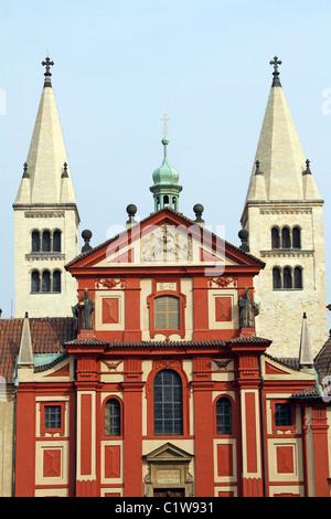 St. George's Basilica at Prague Castle in Prague, Czech Republic - Stock Photo