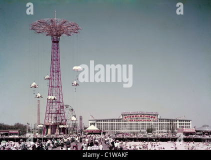 USA, New York City, Coney Island, Steeplechase Park - Stock Photo