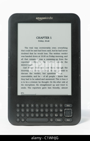 An Amazon Kindle ebook reader on a white background. This is the Kindle 3 model.  FOR EDITORIAL USE ONLY - Stock Photo