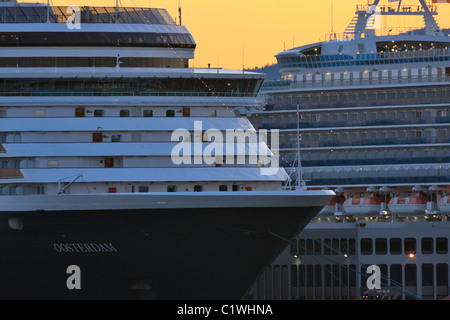MS Oosterdam cruise ship at a port, Ogden Point, Vancouver Island, British Columbia, Canada - Stock Photo