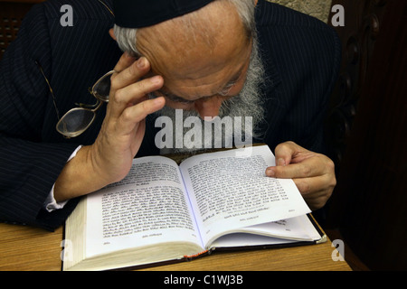 A religious Jew reading the Siddur Jewish book of pray in Israel - Stock Photo