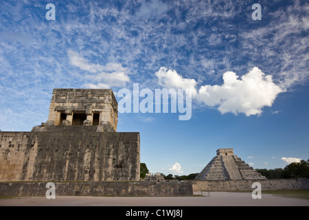 "Ball Court at Chichen Itza with The Kukulkan Pyramid  or ""El Castillo"" in the background, Yucatan Peninsula, Mexco. - Stock Photo"