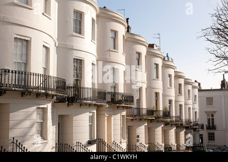 Bow fronted Regency architecture in Norfolk Square, in the Brunswick district of Brighton and Hove - Stock Photo
