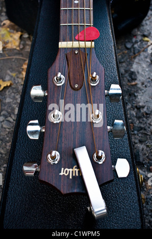 Close-up of an acoustic guitar.
