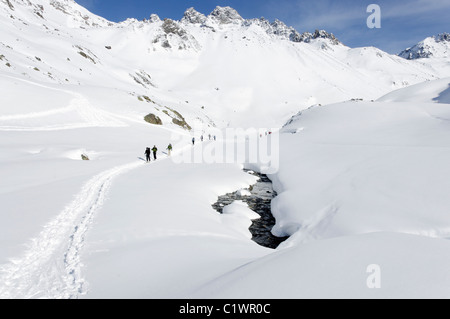 Ski touring in the Silvretta region of Austria - Stock Photo