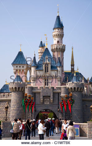 Hong Kong Disneyland, Sleeping Beauty Castle, Lantau Island, China - Stock Photo