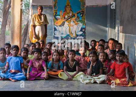 School kids with teacher Andhra Pradesh South India - Stock Photo