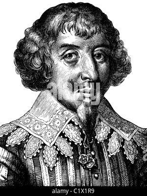 Digital improved image of Martin Opitz von Boberfeld, German poet of the Baroque, 1597 - 1639, historical illustration, - Stock Photo