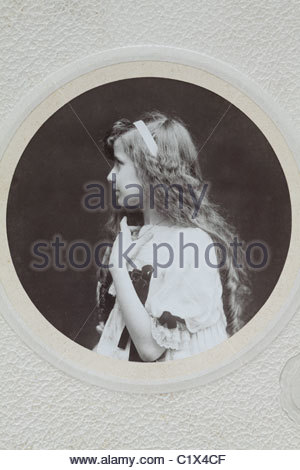 Victorian style vintage portrait of young girl - Stock Photo