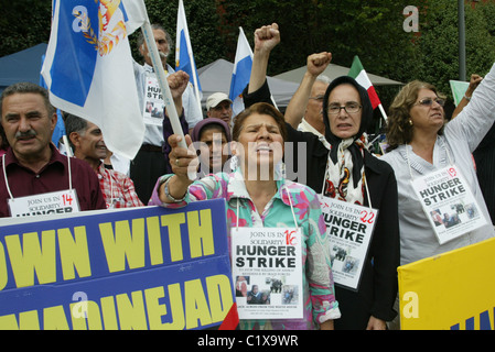 Day 22 of a hunger strike by Iranian Americans who are protesting against the alleged killing of Iranian refugees - Stock Photo