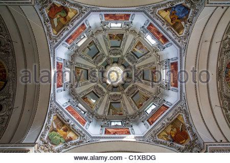 The dome ceiling of the Dom zu Salzburg (Cathedral of Salzburg), Austria. - Stock Photo