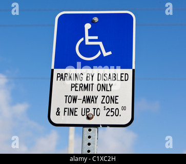 Parking disabled permit only sign concept, USA - Stock Photo