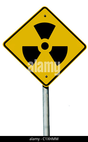 A radioactive sign isolated on a plain white background. - Stock Photo