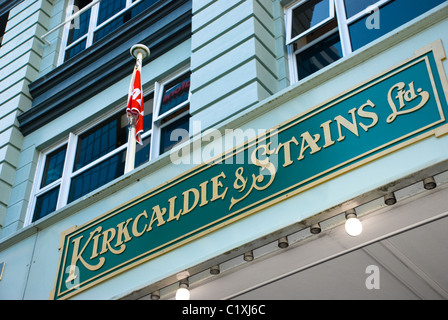 Kirkcaldie & Stains shop sign, Lambton Quay, Wellington, New Zealand - Stock Photo