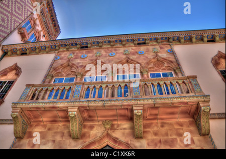 Closeup of the detail on a balcony of Ca d'Zan, John and Mable Ringling's winter mansion in Sarasota, Florida - Stock Photo