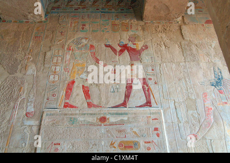 Frescoes on the walls of the temple, Mortuary Temple of Queen Hatshepsut, Luxor Temple Complex, UNESCO World Heritage - Stock Photo