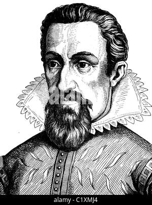 Digital improved image of Johannes Kepler, 1571 - 1631, portrait, historic illustration, 1880 - Stock Photo