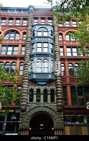 Facade, Pioneer Building, Pioneer Square, Seattle, Washington - Stock Photo
