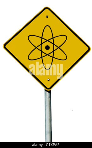 A nuclear sign isolated on a plain white background. - Stock Photo