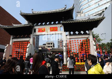Guangzhou, China - FEB 20, 2011 : Temple fair helds in Guangzhou town god's temple - Stock Photo
