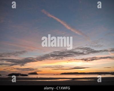 Mackenzie beach at sunset, Tofino, Vancouver Island, British Columbia, Canada - Stock Photo