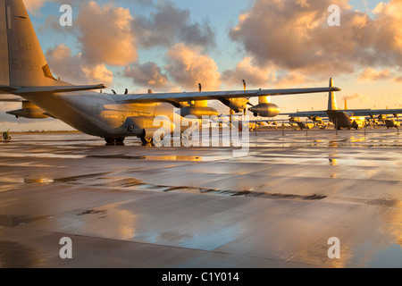KC130J Hercules aircraft at the Marine Corps Air Station in Miramar CA Stock Photo