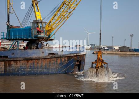 Lowestoft Harbour Dredging - Stock Photo