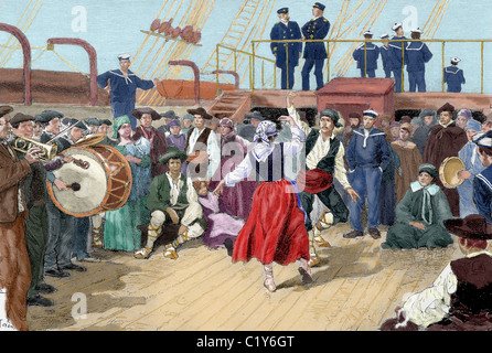 Spanish emigrants on board a ship heading toward Argentina. Brabant engraving for 'The Enlightenment ', 1887. Colored. - Stock Photo
