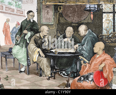 China. Men playing draughts in a tavern. Nineteenth-century colored engraving. - Stock Photo