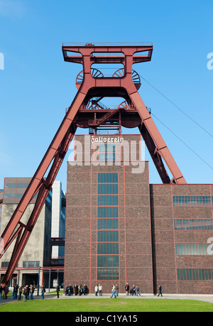 Exterior of Mine winding tower at former coal mine now UNESCO world heritage site at Zollverein in Essen Germany - Stock Photo