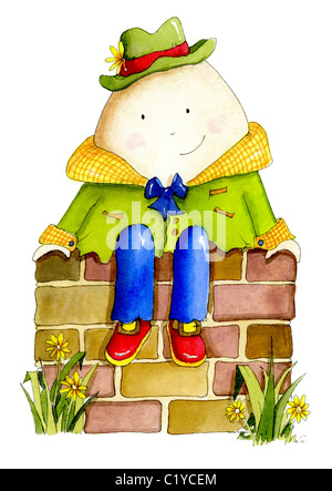 Humpty dumpty sat on a wall - Stock Photo