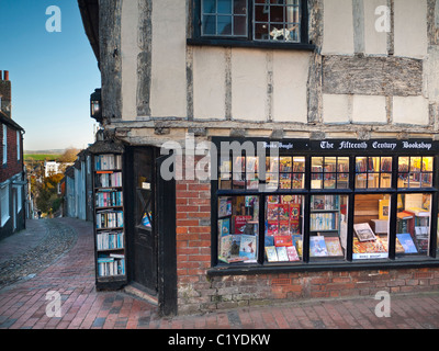 BOOK SHOP STORE antiquarian 15th century book shop  Lewes High Street East Sussex UK - Stock Photo