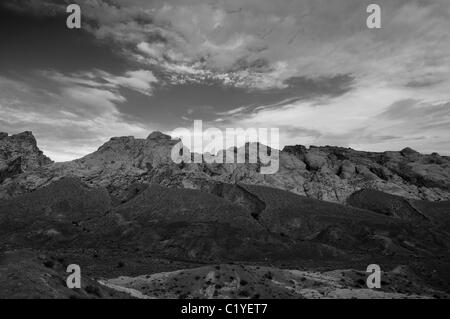 black and white landscape of Grand Staircase Escalante National Monument - Stock Photo