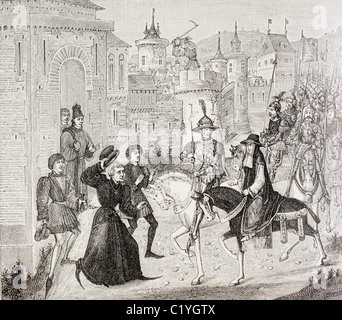 Entry of Louis VIII King of France and the Papal Legate Cardinal St. Angelo into Avignon in 1226 after 3 month siege - Stock Photo