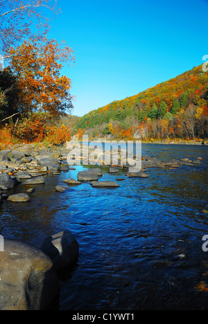 Autumn Mountain with lake view and colorful foliage in forest. - Stock Photo